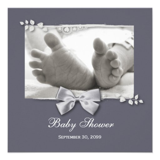 Elegant Baby Shower New Baby Feet With Silver Bow Custom Invites (front side)