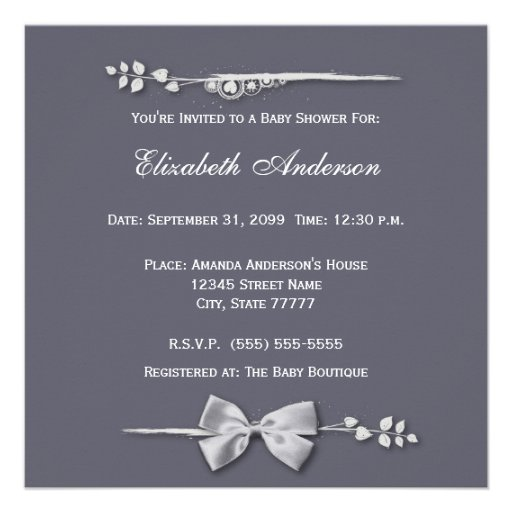 Elegant Baby Shower New Baby Feet With Silver Bow Custom Invites (back side)