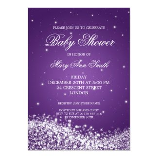 Elegant Baby Shower Sparkling Wave Purple 5x7 Paper Invitation Card