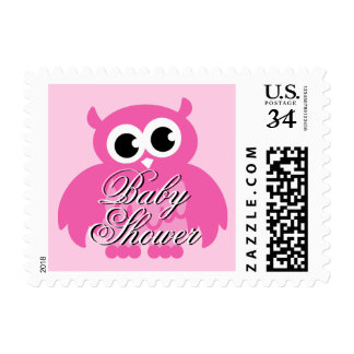 Elegant baby shower stamps with pink owl cartoon
