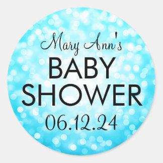 Elegant Baby Shower Turquoise Glitter Lights Classic Round Sticker