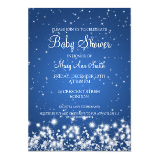 Elegant Baby Shower Winter Sparkle Blue Card
