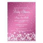 Elegant Baby Shower Winter Sparkle Pink Custom Announcements
