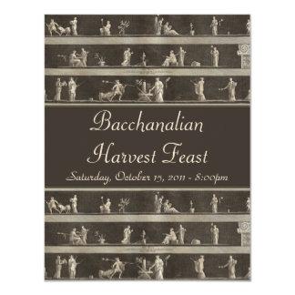 Elegant Bacchanalian Harvest Feast Neo-Classical 4.25x5.5 Paper Invitation Card