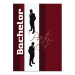 "Elegant ""bachelor party"" formal stag 5"" x 7"" invitation card"