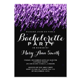 Elegant Bachelorette Party Falling Stars Purple 5x7 Paper Invitation Card
