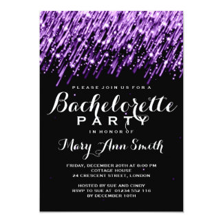 "Elegant Bachelorette Party Falling Stars Purple 5"" X 7"" Invitation Card"
