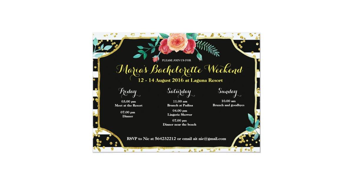 Elegant Bachelorette Party Itinerary Invitation | Zazzle.com