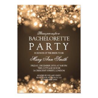 Elegant Bachelorette Party Sparkling Lights Gold Card