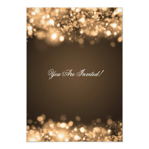 Elegant Bachelorette Party Sparkling Lights Gold Personalized Invitations (back side)
