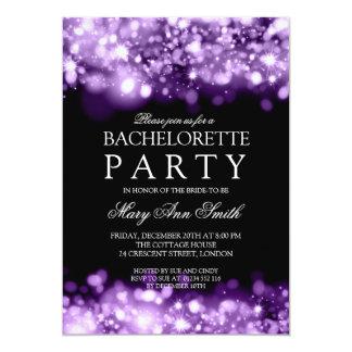 Elegant Bachelorette Party Sparkling Lights Purple Card