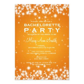 Elegant Bachelorette Party Winter Sparkle Orange Card