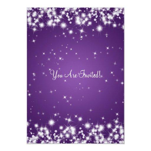 Elegant Bachelorette Party Winter Sparkle Purple Custom Announcements (back side)