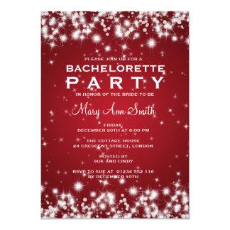 Elegant Bachelorette Party Winter Sparkle Red Card