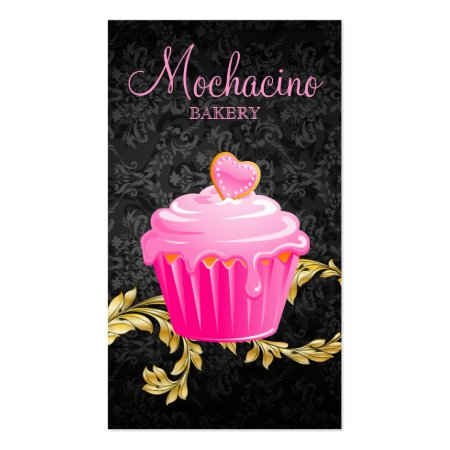 Elegant Black and Gray Damask and Gold Floral Background Pretty Pink Cupcake and Heart Cookie Bakery Business Cards