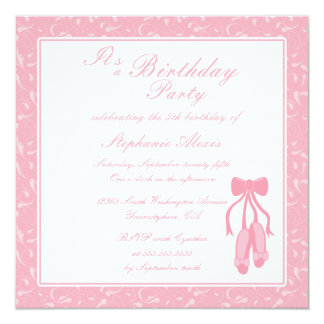 Elegant ballet slippers birthday party invitation