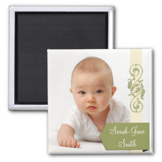 Elegant Banner Baby Photo Keepsake -Green Magnet