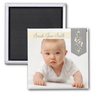 Elegant Banner Baby Photo Keepsake Fridge Magnet