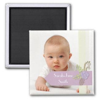 Elegant Banner Baby Photo Keepsake -Purple/Floral Refrigerator Magnets