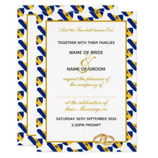 Elegant BARBADOS Gold Script Celebration Wedding Invitation