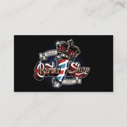 Elegant Barber Pole and Crown Personalize Business Card
