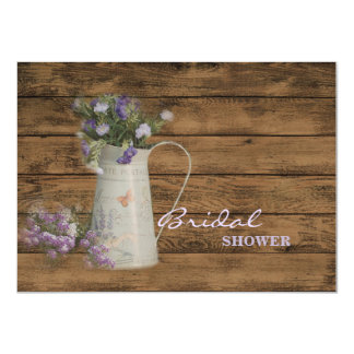 elegant barn wood  country vase wildflowers floral 4.5x6.25 paper invitation card