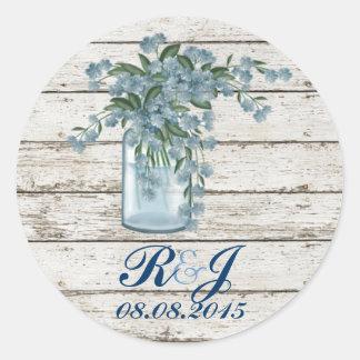 elegant barnwood blue lilac floral country wedding sticker