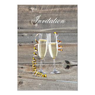elegant barnwood champagne glass country wedding card