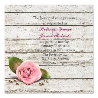 elegant barnwood pink rose floral country wedding personalized invites