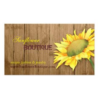 Elegant Barnwood Sunflower Fashion Business Cards