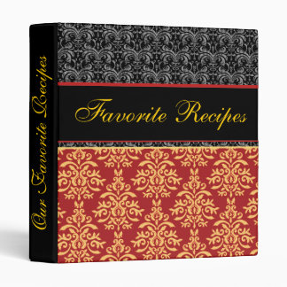 Elegant Baroque Damask Favorite Recipes Cookbook 3 Ring Binder