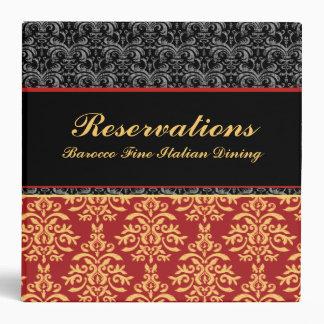 """Elegant Baroque Damask Restaurant Reservations 2"""" Binder"""