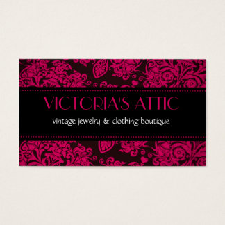 Elegant Baroque Fushia & Black Profile Card