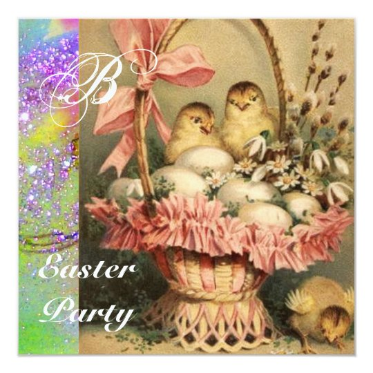 ELEGANT BASKET ,CHICKENS,FLOWERS AND EASTER EGGS CARD