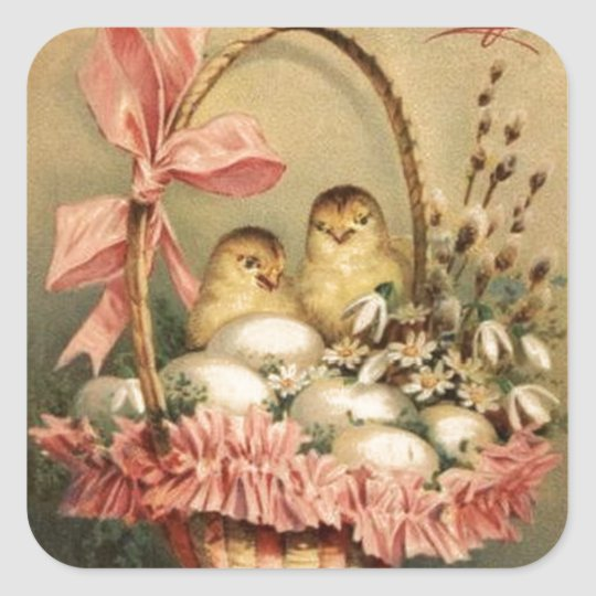 ELEGANT BASKET ,CHICKENS,FLOWERS AND EASTER EGGS SQUARE STICKER