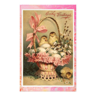 ELEGANT BASKET ,CHICKENS,FLOWERS AND EASTER EGGS STATIONERY