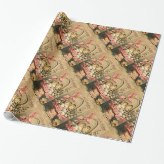 ELEGANT BASKET ,CHICKENS,FLOWERS AND EASTER EGGS WRAPPING PAPER