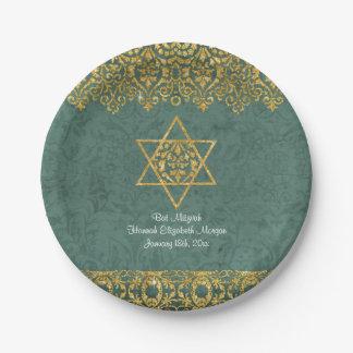 Elegant Bat Mitzvah Celebration Party Gold Glitter Paper Plate