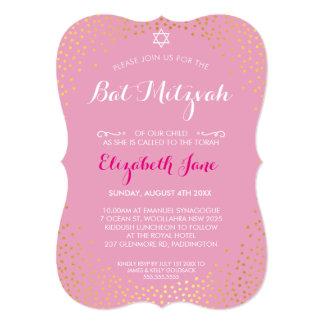 ELEGANT BAT MITZVAH mini rustic gold confetti pink Card