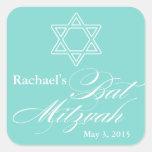 Elegant Bat Mitzvah Party Favor Labels|Tags Square Sticker