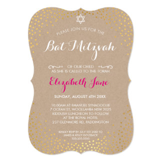 ELEGANT BAT MITZVAH rustic gold confetti kraft 5x7 Paper Invitation Card