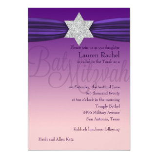 Elegant Bat Mitzvah Silver Star Purple + Any Color Card