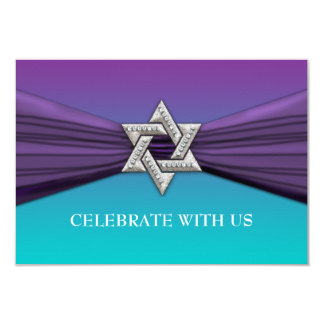 Elegant Bat Mitzvah Star Purple on Any Color 3.5x5 Paper Invitation Card