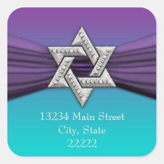 Elegant Bat Mitzvah Star Purple Return Address Square Sticker