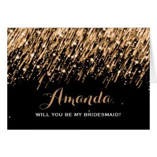 Elegant Be My Bridesmaid Falling Stars Gold Card