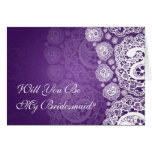 Elegant Be My Bridesmaid Paisley Lace Purple Greeting Cards