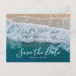 """Elegant Beach Blue Ocean Save the Date Announcement Postcard<br><div class=""""desc"""">Beach destination save the date postcards featuring a summer tropical beach island background, and a modern save-the-date template. For further personalization, please click the &quot;Customize it&quot; button to modify this template. All text style, colors, and sizes can be modified to suit your needs. You will find other matching wedding items...</div>"""
