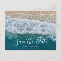 Elegant Beach Blue Ocean Save the Date Announcement Postcard