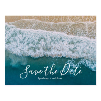 Elegant Beach Blue Ocean Save the Date Postcard