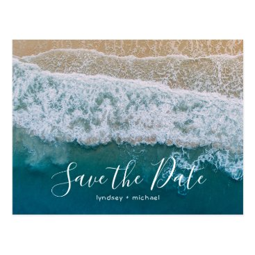 special_stationery Elegant Beach Blue Ocean Save the Date Postcard